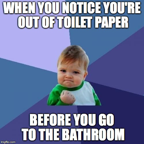Success Kid Meme | WHEN YOU NOTICE YOU'RE OUT OF TOILET PAPER BEFORE YOU GO TO THE BATHROOM | image tagged in memes,success kid | made w/ Imgflip meme maker