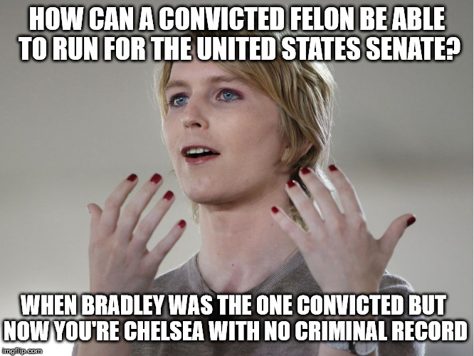 ...And When You Already Have Experience Leaking Documents | HOW CAN A CONVICTED FELON BE ABLE TO RUN FOR THE UNITED STATES SENATE? WHEN BRADLEY WAS THE ONE CONVICTED BUT NOW YOU'RE CHELSEA WITH NO CRI | image tagged in chelsea manning,memes,senate,government corruption,one does not simply | made w/ Imgflip meme maker