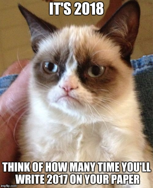 Grumpy Cat Meme | IT'S 2018 THINK OF HOW MANY TIME YOU'LL WRITE 2017 ON YOUR PAPER | image tagged in memes,grumpy cat | made w/ Imgflip meme maker