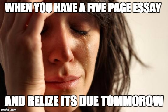 First World Problems Meme | WHEN YOU HAVE A FIVE PAGE ESSAY AND RELIZE ITS DUE TOMMOROW | image tagged in memes,first world problems | made w/ Imgflip meme maker