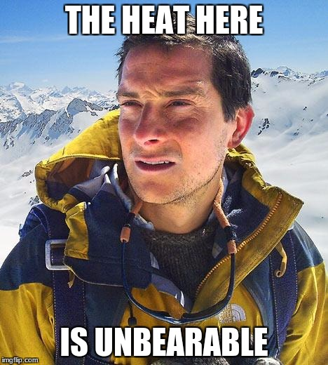 Bear Grylls Meme | THE HEAT HERE IS UNBEARABLE | image tagged in memes,bear grylls | made w/ Imgflip meme maker