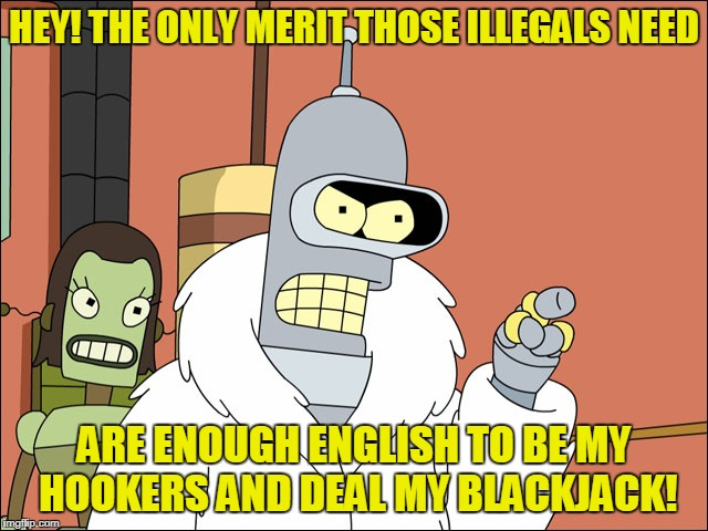 HEY! THE ONLY MERIT THOSE ILLEGALS NEED ARE ENOUGH ENGLISH TO BE MY HOOKERS AND DEAL MY BLACKJACK! | made w/ Imgflip meme maker