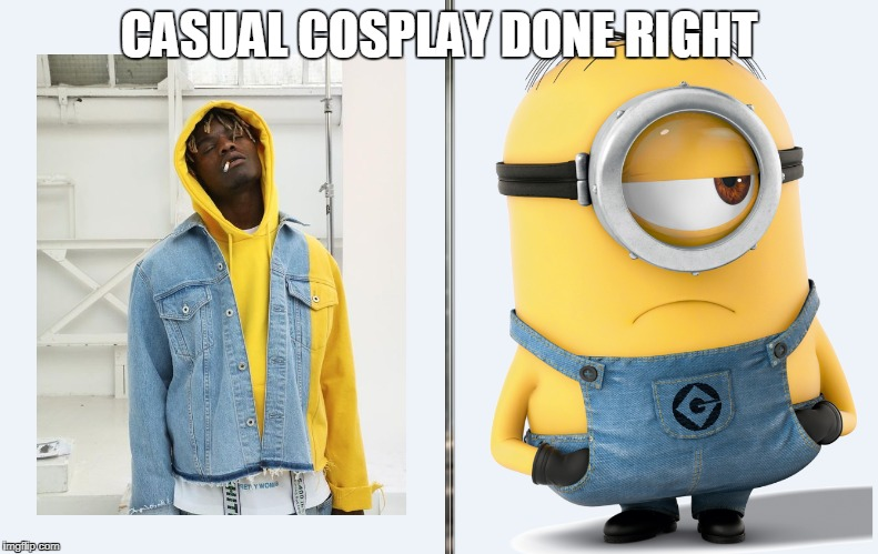 When you want to cosplay but arent at comicon | CASUAL COSPLAY DONE RIGHT | image tagged in minion,minions,cosplay,fail | made w/ Imgflip meme maker