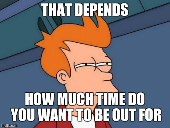 Futurama Fry Meme | THAT DEPENDS HOW MUCH TIME DO YOU WANT TO BE OUT FOR | image tagged in memes,futurama fry | made w/ Imgflip meme maker