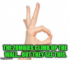 THE ZOMBIES CLIMB UP THE WALL... BUT THEY SEE THIS. | made w/ Imgflip meme maker