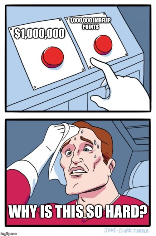 Reply what you would choose | $1,000,000 1,000,000 IMGFLIP POINTS WHY IS THIS SO HARD? | image tagged in memes,two buttons | made w/ Imgflip meme maker
