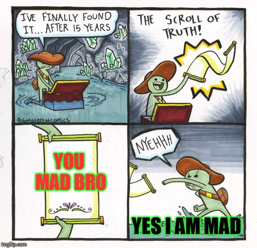 The Scroll Of Truth Meme | YOU MAD BRO YES I AM MAD | image tagged in memes,the scroll of truth | made w/ Imgflip meme maker