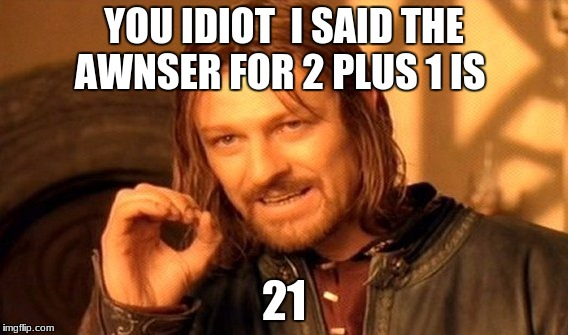 One Does Not Simply Meme | YOU IDIOT  I SAID THE AWNSER FOR 2 PLUS 1 IS 21 | image tagged in memes,one does not simply | made w/ Imgflip meme maker