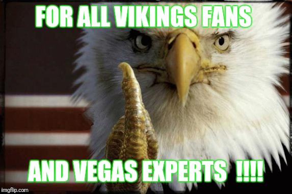 Eagle Middle Finger | FOR ALL VIKINGS FANS AND VEGAS EXPERTS  !!!! | image tagged in eagle middle finger | made w/ Imgflip meme maker