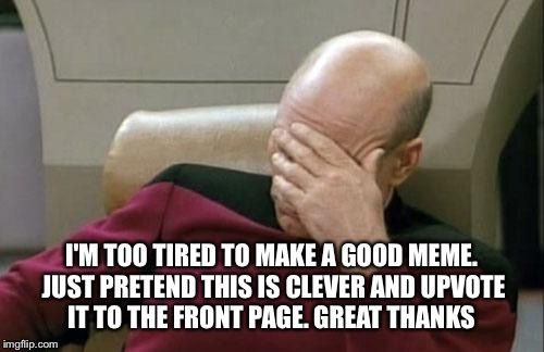 Captain Picard Facepalm Meme | I'M TOO TIRED TO MAKE A GOOD MEME. JUST PRETEND THIS IS CLEVER AND UPVOTE IT TO THE FRONT PAGE. GREAT THANKS | image tagged in memes,captain picard facepalm | made w/ Imgflip meme maker
