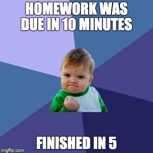 Success Kid Meme | HOMEWORK WAS DUE IN 10 MINUTES FINISHED IN 5 | image tagged in memes,success kid | made w/ Imgflip meme maker