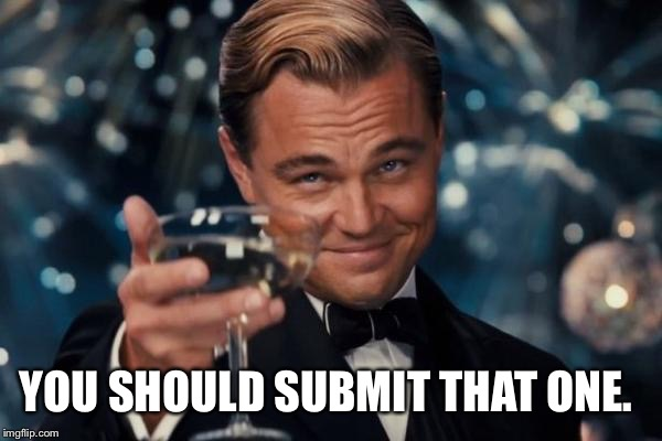 Leonardo Dicaprio Cheers Meme | YOU SHOULD SUBMIT THAT ONE. | image tagged in memes,leonardo dicaprio cheers | made w/ Imgflip meme maker