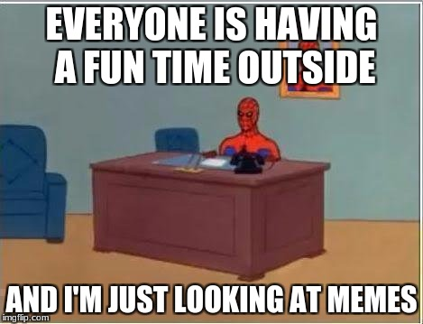 Spiderman Computer Desk Meme | EVERYONE IS HAVING A FUN TIME OUTSIDE AND I'M JUST LOOKING AT MEMES | image tagged in memes,spiderman computer desk,spiderman | made w/ Imgflip meme maker