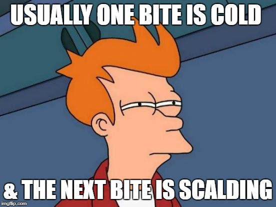 Futurama Fry Meme | USUALLY ONE BITE IS COLD & THE NEXT BITE IS SCALDING | image tagged in memes,futurama fry | made w/ Imgflip meme maker