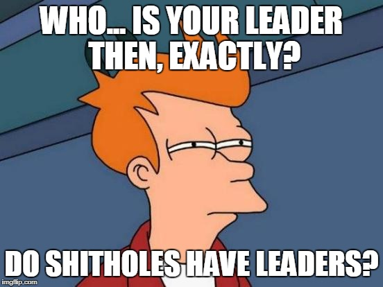 Futurama Fry Meme | WHO... IS YOUR LEADER THEN, EXACTLY? DO SHITHOLES HAVE LEADERS? | image tagged in memes,futurama fry | made w/ Imgflip meme maker