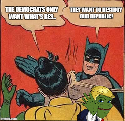 Democrats hate the Republic | THE DEMOCRATS ONLY WANT WHAT'S BES.. THEY WANT TO DESTROY OUR REPUBLIC! | image tagged in memes,batman slapping robin,democrats,republic,pepe the frog | made w/ Imgflip meme maker