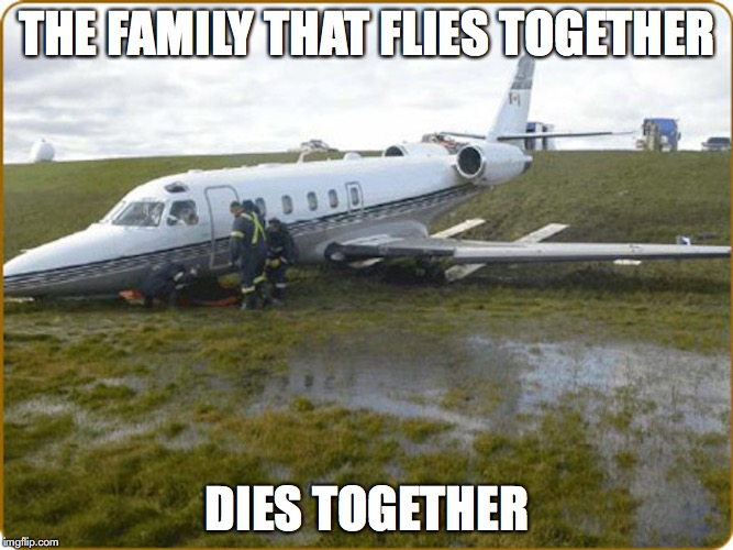 Crashed Plane | THE FAMILY THAT FLIES TOGETHER DIES TOGETHER | image tagged in airplane,memes | made w/ Imgflip meme maker