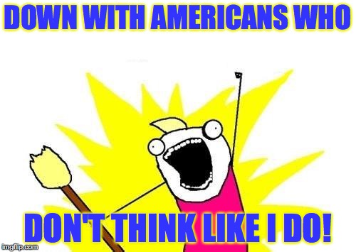 X All The Y Meme | DOWN WITH AMERICANS WHO DON'T THINK LIKE I DO! | image tagged in memes,x all the y | made w/ Imgflip meme maker