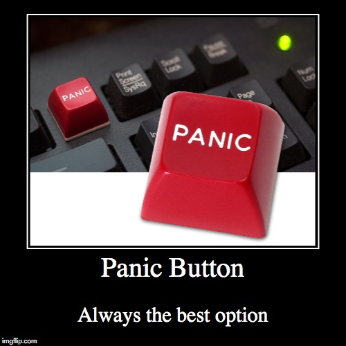 Panic Button | Panic Button | Always the best option | image tagged in funny,demotivationals,panic button | made w/ Imgflip demotivational maker