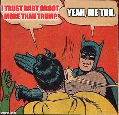 Batman Slapping Robin Meme | I TRUST BABY GROOT MORE THAN TRUMP. YEAH, ME TOO. | image tagged in memes,batman slapping robin | made w/ Imgflip meme maker