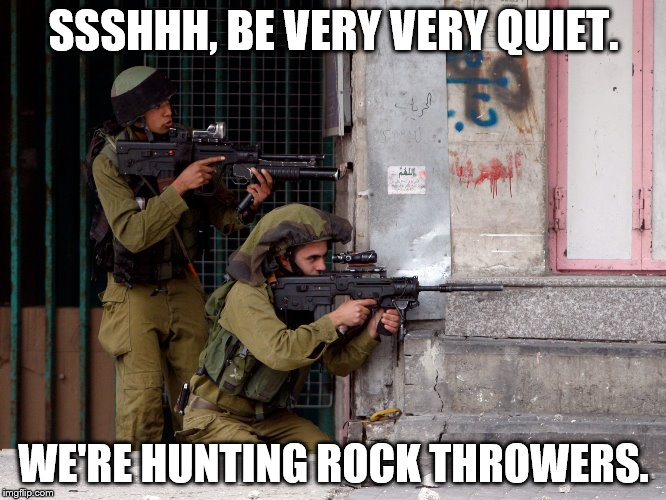 IDF | SSSHHH, BE VERY VERY QUIET. WE'RE HUNTING ROCK THROWERS. | image tagged in idf | made w/ Imgflip meme maker