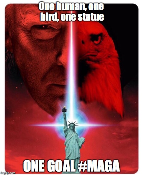 #MAGA | One human, one bird, one statue ONE GOAL #MAGA | image tagged in trump,maga | made w/ Imgflip meme maker