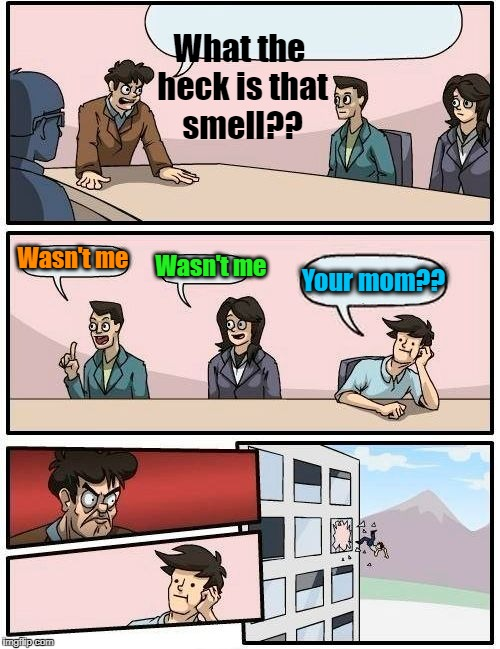 Sniff! Sniff! YUCK! | What the heck is that smell?? Wasn't me Wasn't me Your mom?? | image tagged in memes,boardroom meeting suggestion | made w/ Imgflip meme maker