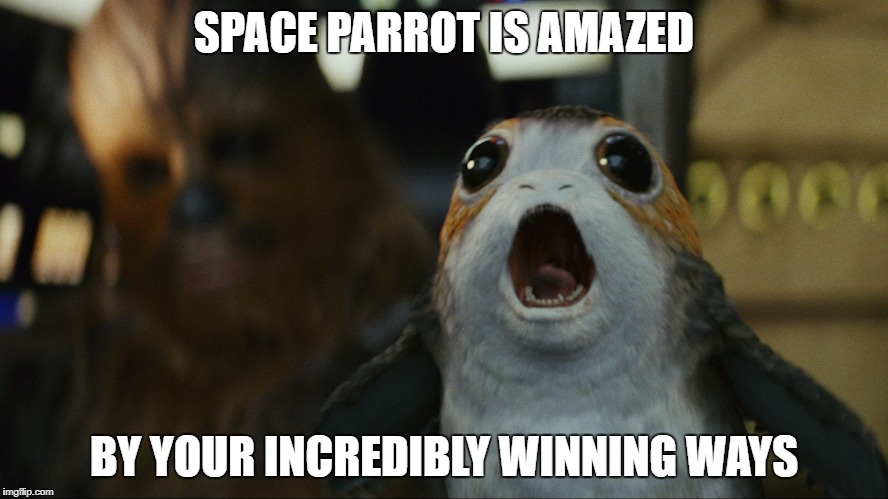 SPACE PARROT IS AMAZED BY YOUR INCREDIBLY WINNING WAYS | image tagged in space parrot | made w/ Imgflip meme maker