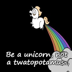 Be A Unicorn... | Be a unicorn, not a twatopotamus... | image tagged in unicorn,be,not | made w/ Imgflip meme maker