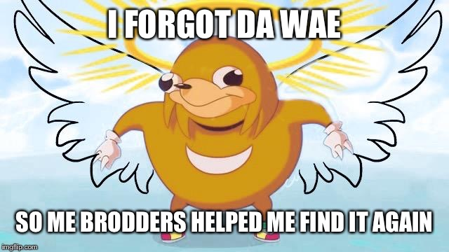 I FORGOT DA WAE SO ME BRODDERS HELPED ME FIND IT AGAIN | made w/ Imgflip meme maker