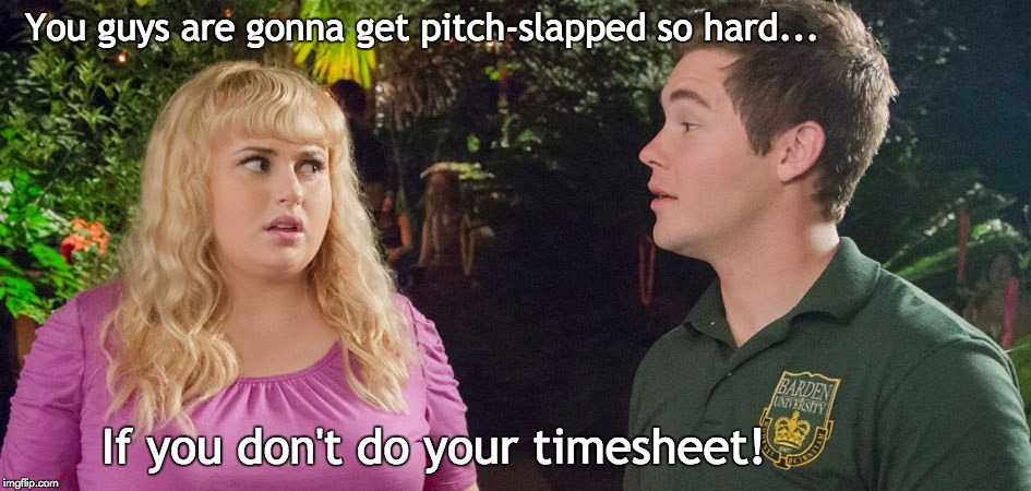 Pitch Perfect Timesheet Reminder | You guys are gonna get pitch-slapped so hard... If you don't do your timesheet! | image tagged in pitch perfect,timesheet reminder fat amy | made w/ Imgflip meme maker