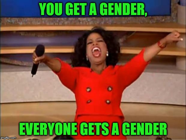 Oprah You Get A Meme | YOU GET A GENDER, EVERYONE GETS A GENDER | image tagged in memes,oprah you get a | made w/ Imgflip meme maker
