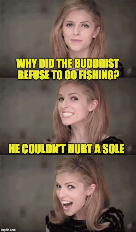 Bad Pun Anna Kendrick Meme | WHY DID THE BUDDHIST REFUSE TO GO FISHING? HE COULDN'T HURT A SOLE | image tagged in memes,bad pun anna kendrick,fishing,buddhism | made w/ Imgflip meme maker