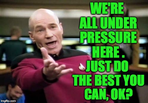 Picard Wtf Meme | WE'RE ALL UNDER PRESSURE HERE . JUST DO THE BEST YOU CAN, OK? | image tagged in memes,picard wtf | made w/ Imgflip meme maker