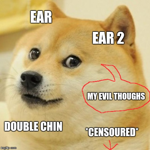 Doge Meme | EAR EAR 2 MY EVIL THOUGHS DOUBLE CHIN *CENSOURED* | image tagged in memes,doge | made w/ Imgflip meme maker