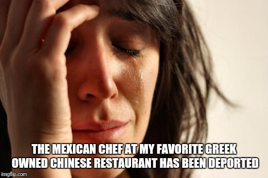 First World Problems Meme | THE MEXICAN CHEF AT MY FAVORITE GREEK OWNED CHINESE RESTAURANT HAS BEEN DEPORTED | image tagged in memes,first world problems | made w/ Imgflip meme maker