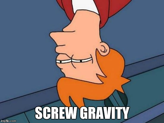 futurama screws with gravity  | SCREW GRAVITY | image tagged in memes,futurama fry,screw gravity | made w/ Imgflip meme maker