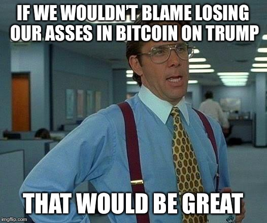 Blame trump | IF WE WOULDN'T BLAME LOSING OUR ASSES IN BITCOIN ON TRUMP THAT WOULD BE GREAT | image tagged in memes,that would be great,bitcoin,donald trump,trump | made w/ Imgflip meme maker