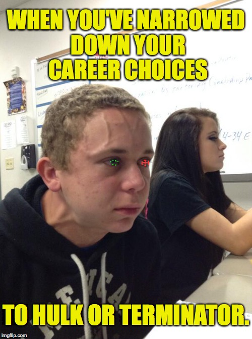 I have an appointment with my guidance counselor at 11. | WHEN YOU'VE NARROWED DOWN YOUR CAREER CHOICES TO HULK OR TERMINATOR. | image tagged in memes,careers,hulk,terminator | made w/ Imgflip meme maker