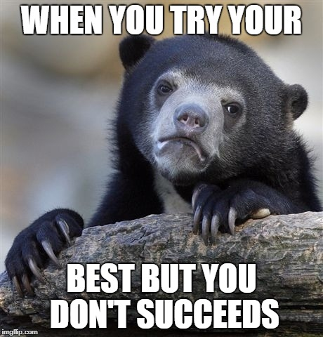 Confession Bear Meme | WHEN YOU TRY YOUR BEST BUT YOU DON'T SUCCEEDS | image tagged in memes,confession bear | made w/ Imgflip meme maker