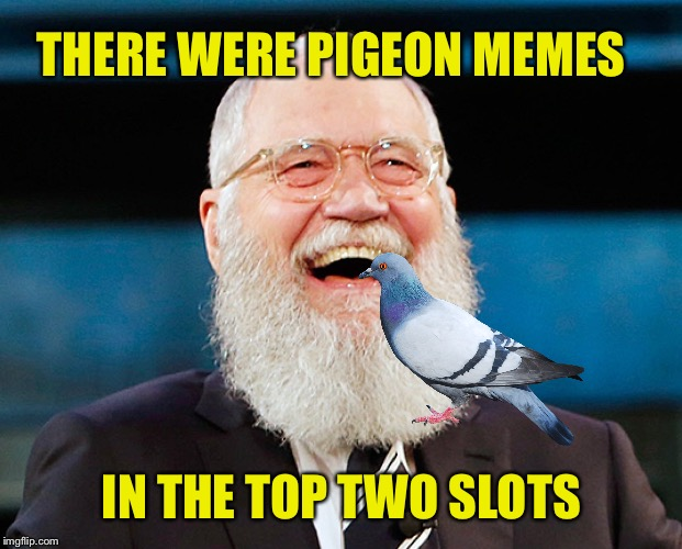 THERE WERE PIGEON MEMES IN THE TOP TWO SLOTS | made w/ Imgflip meme maker