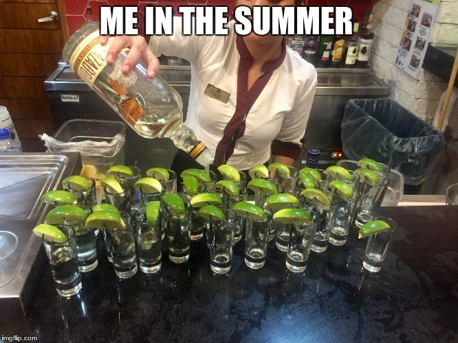 ME IN THE SUMMER | image tagged in tequila shots | made w/ Imgflip meme maker