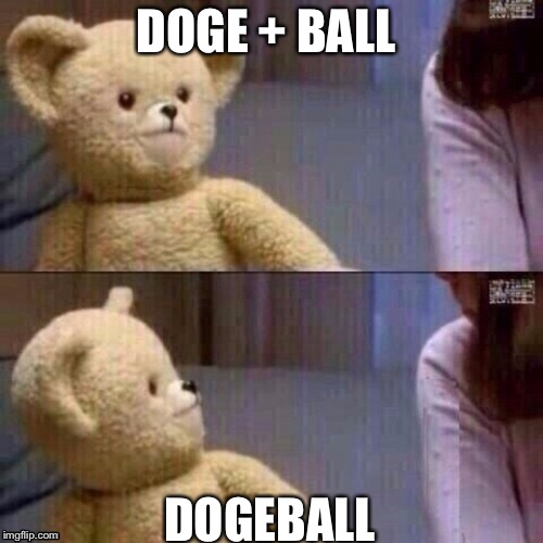 Nice try  | DOGE + BALL DOGEBALL | image tagged in what teddy bear | made w/ Imgflip meme maker
