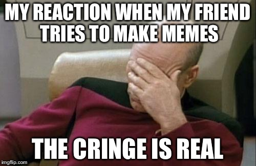 Captain Picard Facepalm Meme | MY REACTION WHEN MY FRIEND TRIES TO MAKE MEMES THE CRINGE IS REAL | image tagged in memes,captain picard facepalm,cringe worthy,funny | made w/ Imgflip meme maker