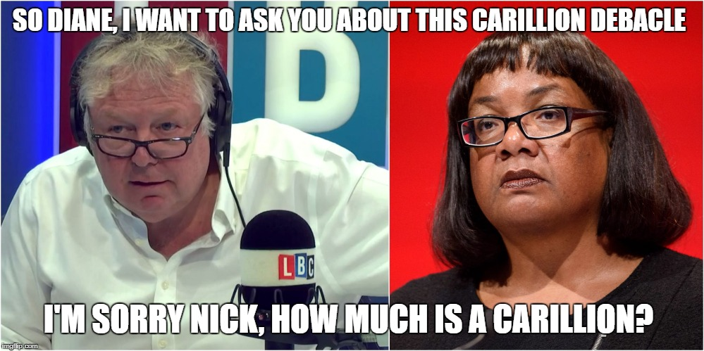 Dianne Abbott Carillion | SO DIANE, I WANT TO ASK YOU ABOUT THIS CARILLION DEBACLE I'M SORRY NICK, HOW MUCH IS A CARILLION? | image tagged in diane abbott | made w/ Imgflip meme maker