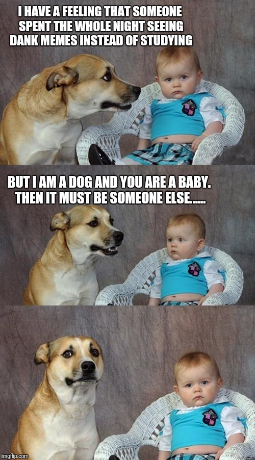 Dad Joke Dog Meme | I HAVE A FEELING THAT SOMEONE SPENT THE WHOLE NIGHT SEEING DANK MEMES INSTEAD OF STUDYING BUT I AM A DOG AND YOU ARE A BABY. THEN IT MUST BE | image tagged in memes,dad joke dog | made w/ Imgflip meme maker