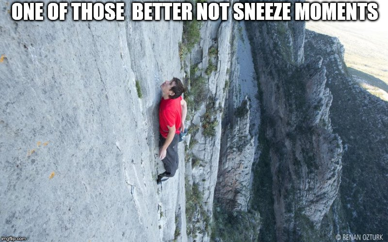 you better not  sneeze! | ONE OF THOSE  BETTER NOT SNEEZE MOMENTS | image tagged in best not sneeze,sneeze you die,no climvbin down | made w/ Imgflip meme maker