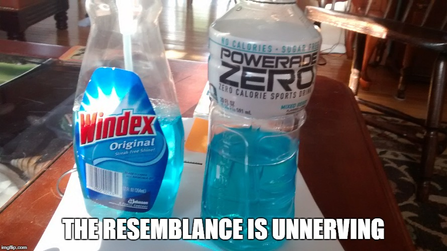Why Gatorade is better than Powerade. | THE RESEMBLANCE IS UNNERVING | image tagged in fail,fails,epic fail,comparison | made w/ Imgflip meme maker