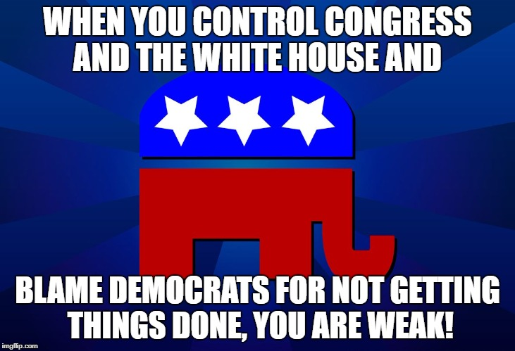 WHEN YOU CONTROL CONGRESS AND THE WHITE HOUSE AND BLAME DEMOCRATS FOR NOT GETTING THINGS DONE, YOU ARE WEAK! | image tagged in gop | made w/ Imgflip meme maker