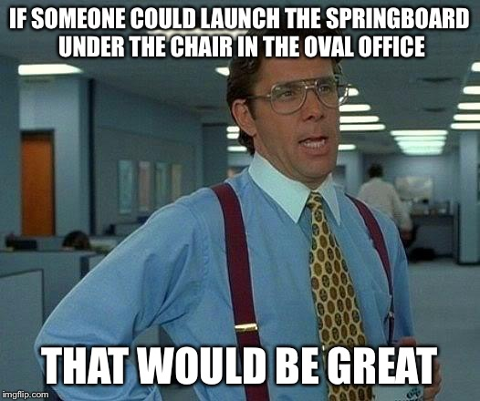 That Would Be Great Meme | IF SOMEONE COULD LAUNCH THE SPRINGBOARD UNDER THE CHAIR IN THE OVAL OFFICE THAT WOULD BE GREAT | image tagged in memes,that would be great | made w/ Imgflip meme maker